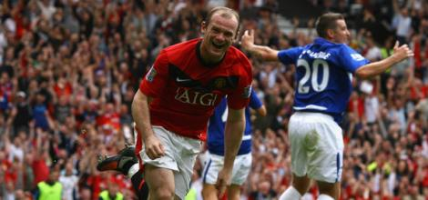 Rooney celebrates his goal against Birmingham.