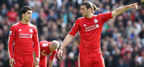 Liverpool's Luis Suarez and Andy Carroll