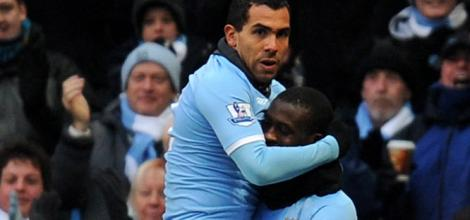Man City's Carlos Tevez and Yaya Toure